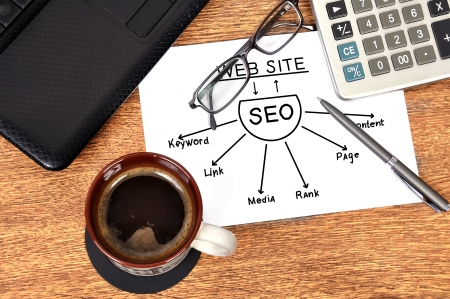 scheme seo and laptop in office Stock Photo - 18852772