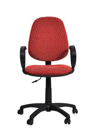 白地に赤のオフィスの椅子