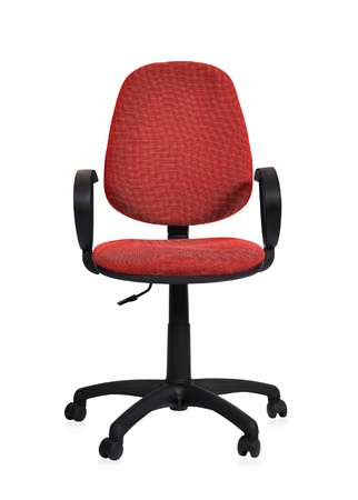 red office chair on white background