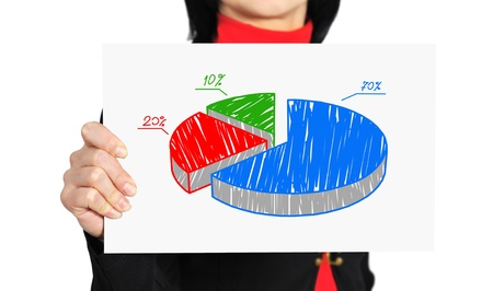 woman holding paper with pie graph of profit photo