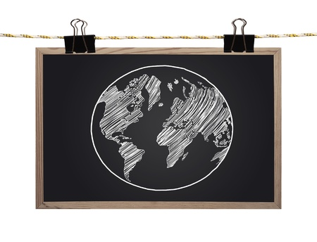 blackboard with earth hanging on a rope photo