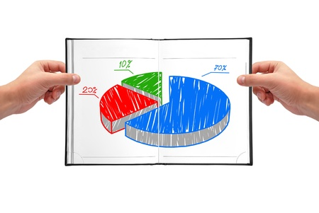 Hands holding book with graph of growth photo
