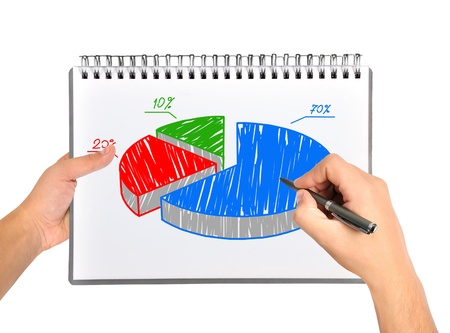 hand drawing pie graph in notebook Stock Photo - 19601940