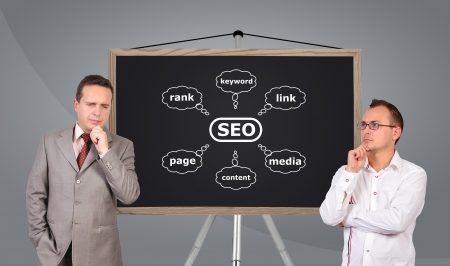 two businessman and scheme seo on blackboard photo