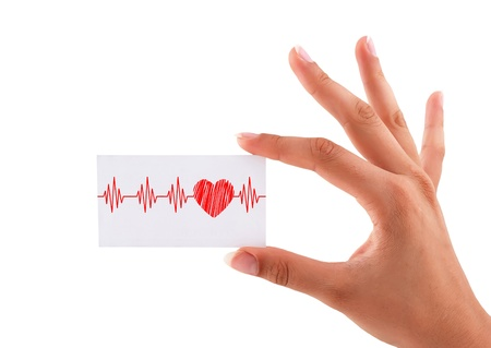 business card with heartbeat in hand Stock Photo - 19985071