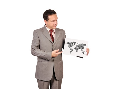 businessman holding paper with world map photo