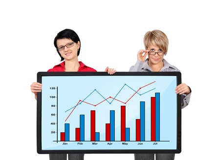 two businesswoman holding panel with graph photo