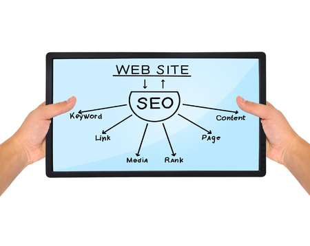 hands holding tablet with seo scheme photo