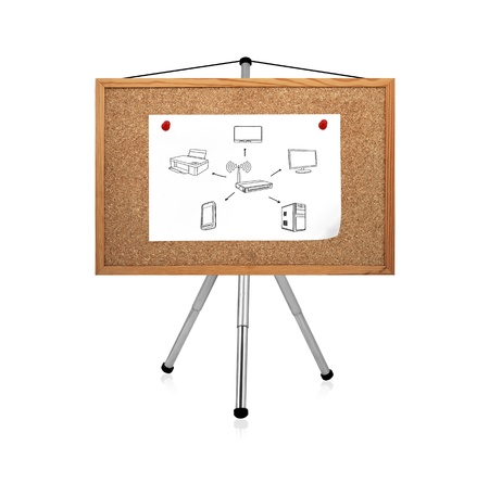 poster with computer network clip to corkboard Stock Photo - 20210156