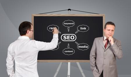 two businessman and scheme seo on blackboard photo