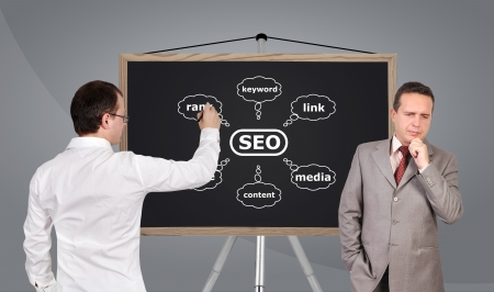 semantic: two businessman and scheme seo on blackboard Stock Photo