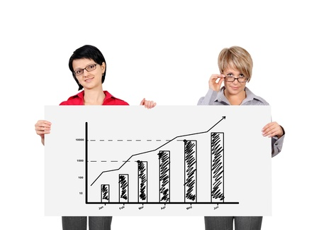 two woman holding billboard with growth chart photo