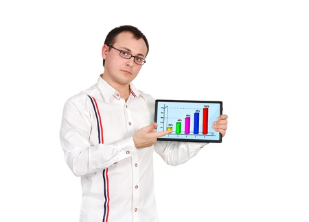 businessman and tablet with business chart photo
