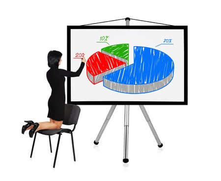 woman standing on chair and drawing graph photo