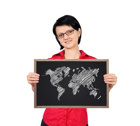 businesswoman holding a blackboard with world map photo