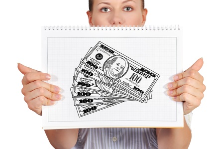 girl holdng note pad with drawing cash photo