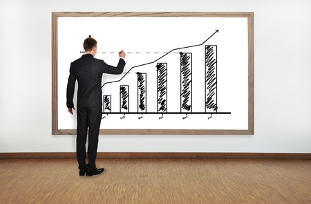 businessman drawing graph on blackboard photo