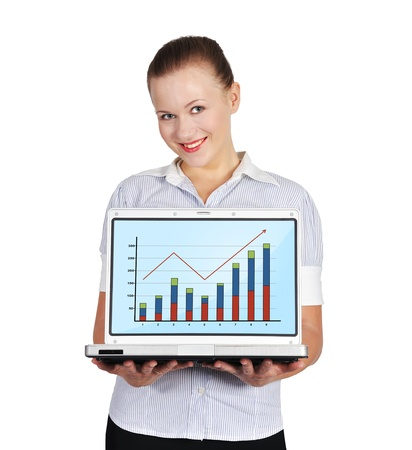 woman holding notebook with chart on a white background photo