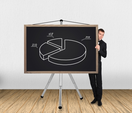 businessman in tuxedo and pie chart on blackboard photo