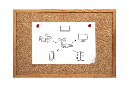 poster with computer network clip to cork board Stock Photo - 20745233