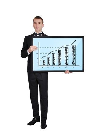 businessman in tuxedo holding plasma with chart photo