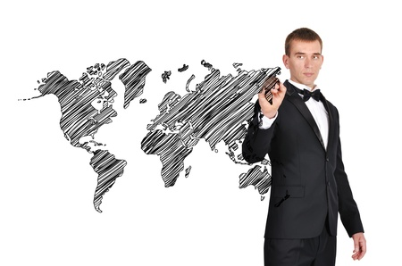 businessman in tuxedo drawing world map photo