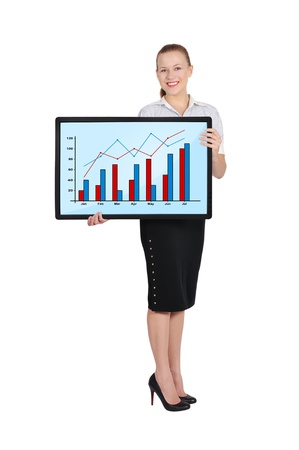 businesswoman holding plasma with chart photo