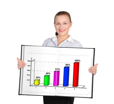 woman holding big book with business graphic photo