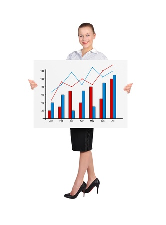 woman holding placard with business graph photo