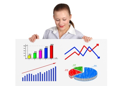 woman looking on placard with many  business graph photo