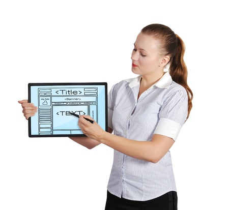 web service: woman holding touch pad with template web page Stock Photo