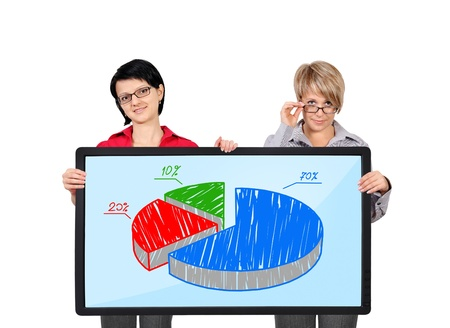 two businesswoman holding panel with pie graph photo