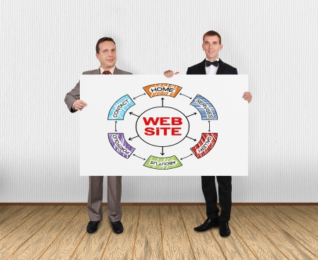 two businessman holding placard with website  scheme in office photo