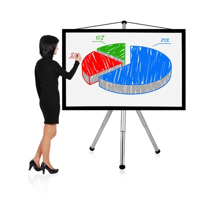 woman standing and drawing pie chart photo