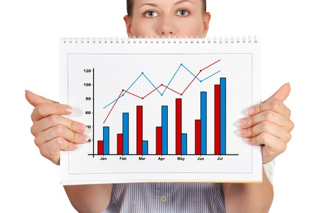girl holdng blank note pad with business chart photo