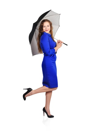 beautiful girl with umbrella on white background photo