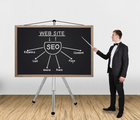 businessman in tuxedo pointing on blackboard  with seo scheme Stock Photo - 20667729