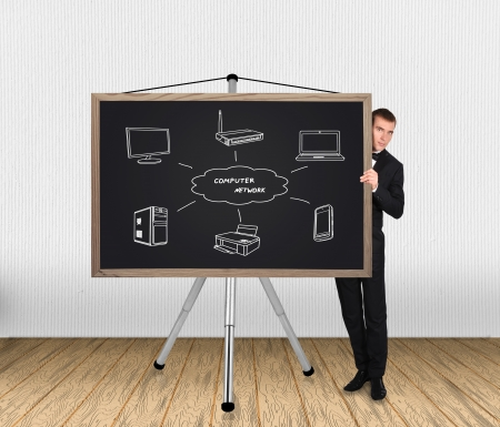 businessman in tuxedo and computer network  blackboard photo