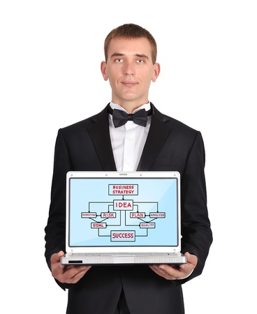 businessman holding a laptop with business concept photo