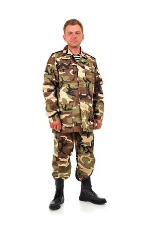 fatigues: man in camouflage on a white background