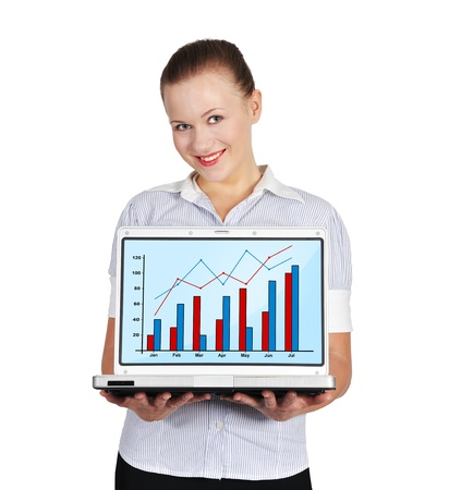 girl holding notebook with chart on a white background photo