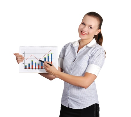 woman holding note pad with graph photo