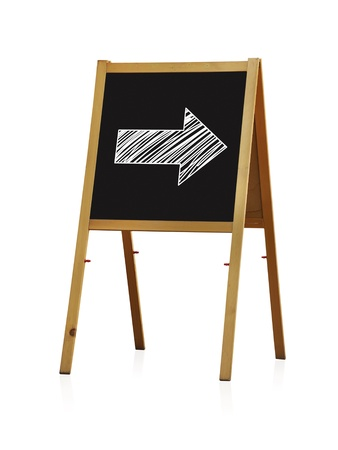 chalk board with arrow on white background photo