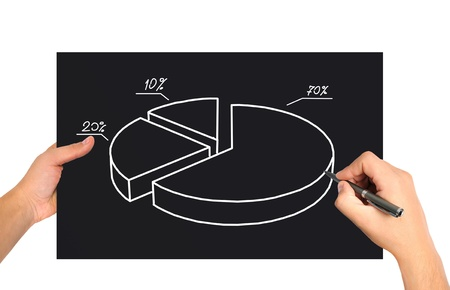 hand drawing pie graph on black paper Stock Photo - 21046211