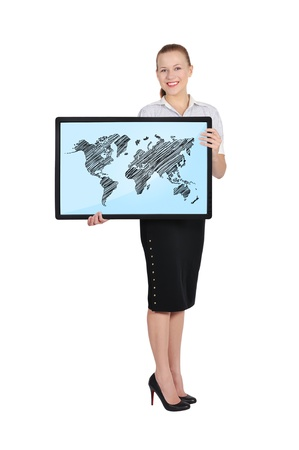young woman holding plasma with world map photo