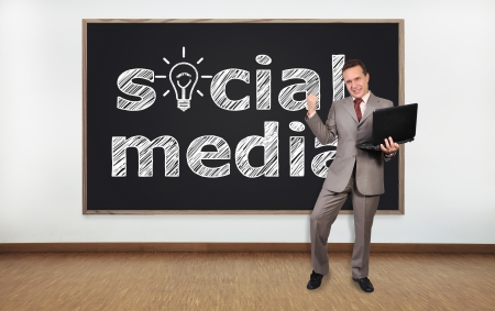 happy businessman and blackboard with social media photo