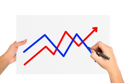 hand drawing graph on paper Stock Photo - 21593195