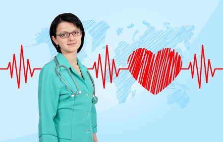 happy smiling young female doctor photo