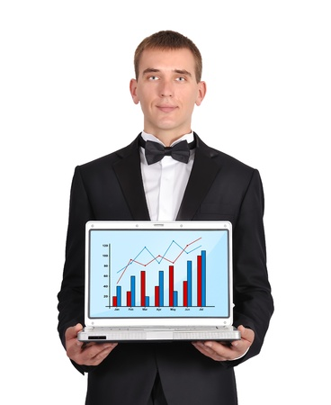 businessman in  tuxedo holding notebook  wirth chart photo