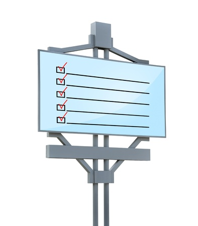 checklist on billboard on white background Stock Photo - 21589625